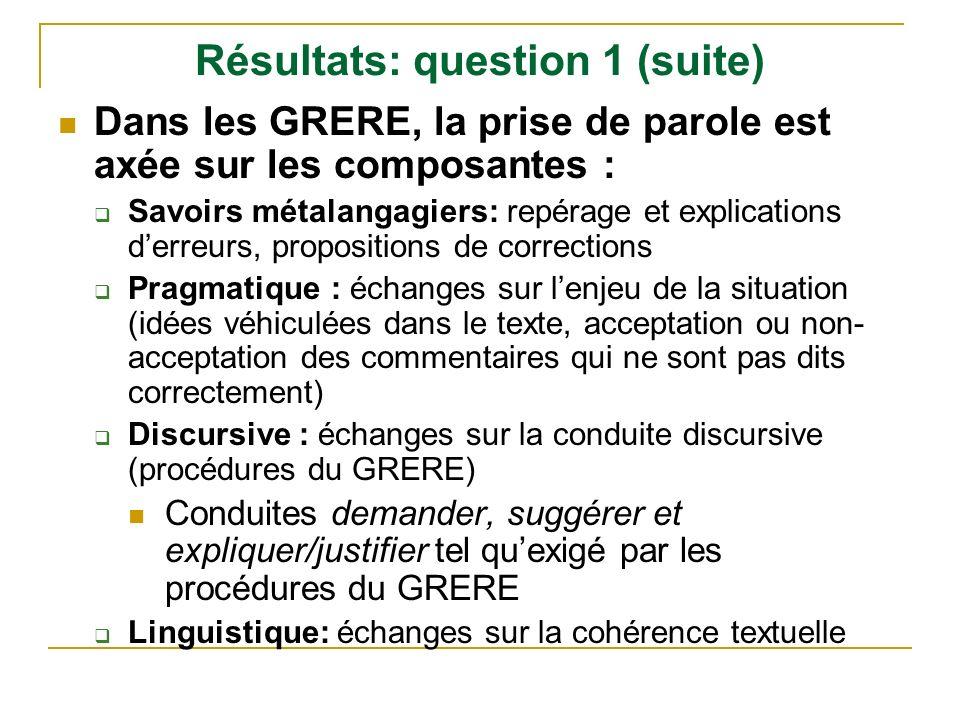 Résultats: question 1 (suite)