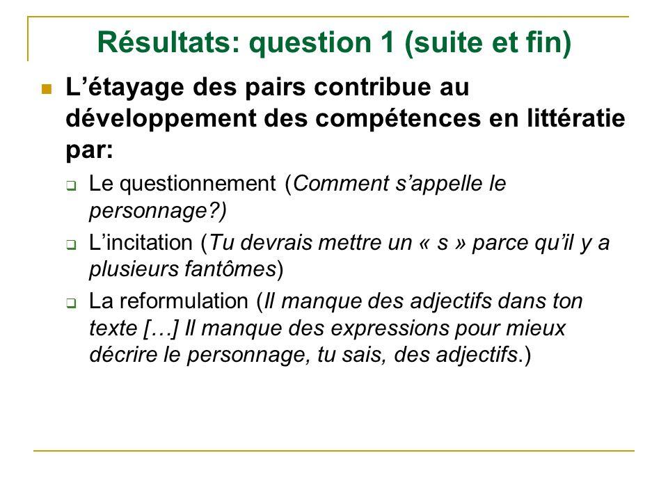 Résultats: question 1 (suite et fin)