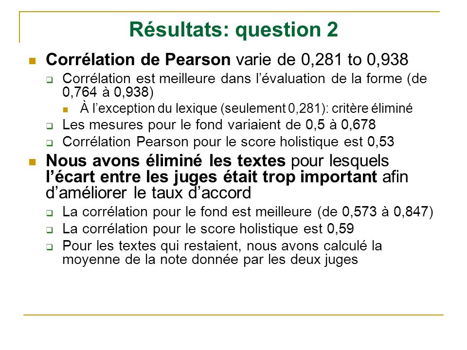 Résultats: question 2 Corrélation de Pearson varie de 0,281 to 0,938