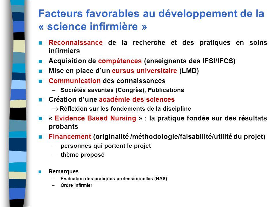 Facteurs favorables au développement de la « science infirmière »