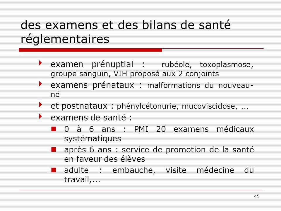 des examens et des bilans de santé réglementaires