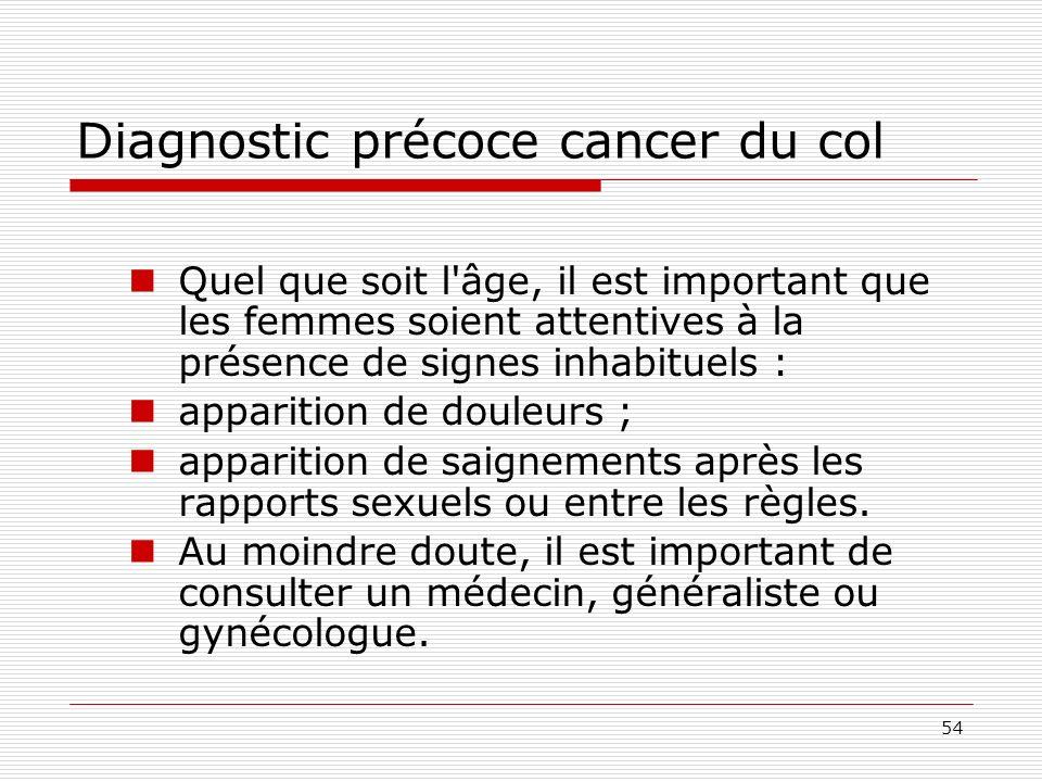 Diagnostic précoce cancer du col