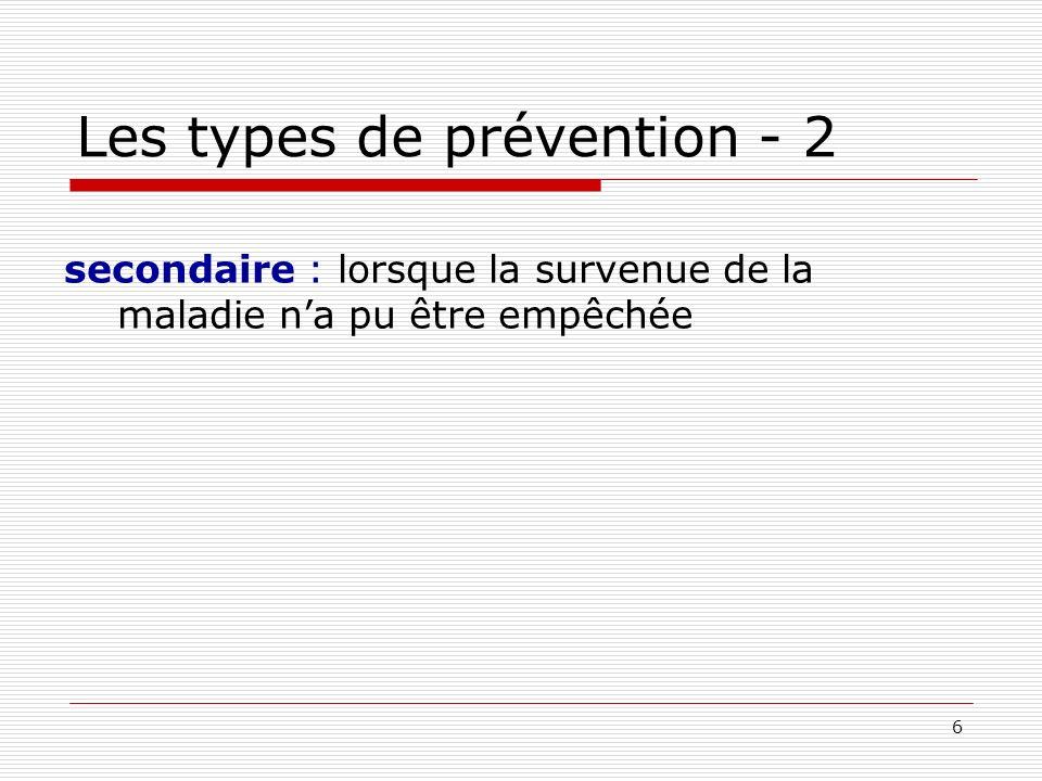 Les types de prévention - 2