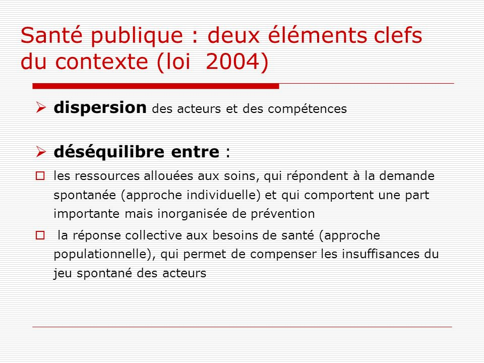 Santé publique : deux éléments clefs du contexte (loi 2004)