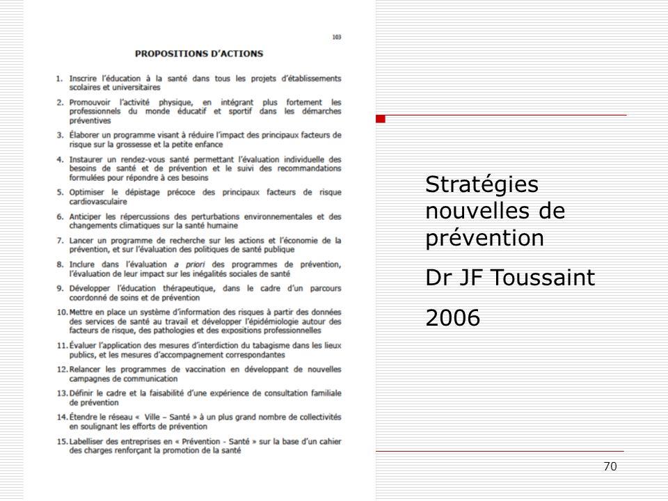 Stratégies nouvelles de prévention