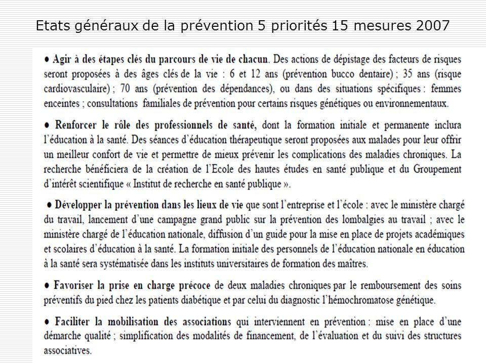 Etats généraux de la prévention 5 priorités 15 mesures 2007