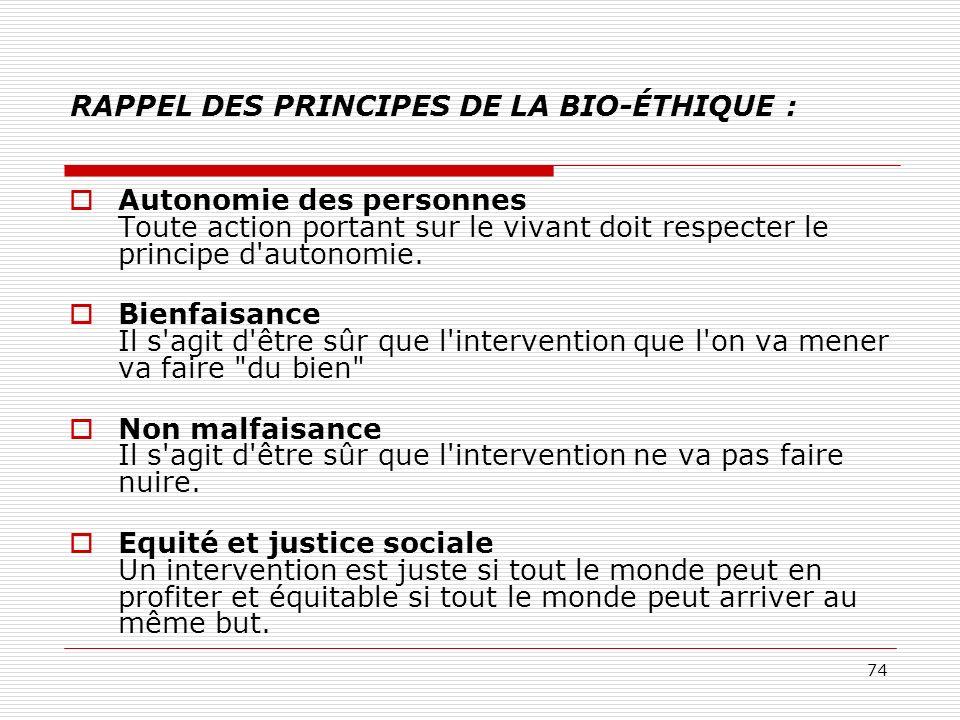 RAPPEL DES PRINCIPES DE LA BIO-ÉTHIQUE :