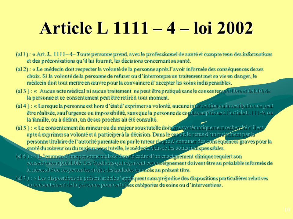 Article L 1111 – 4 – loi 2002