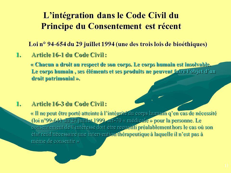 Loi n° 94-654 du 29 juillet 1994 (une des trois lois de bioéthiques)