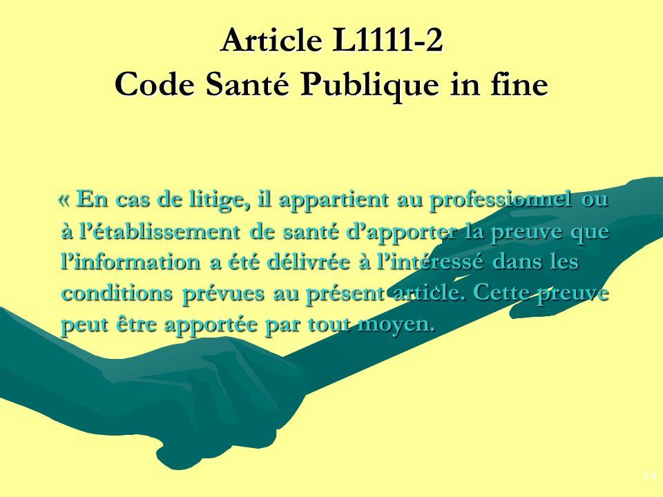 Article L1111-2 Code Santé Publique in fine