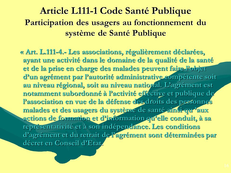 Article L111-1 Code Santé Publique Participation des usagers au fonctionnement du système de Santé Publique