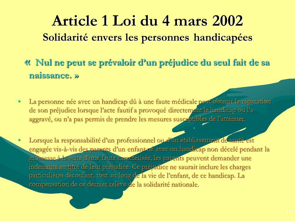 Article 1 Loi du 4 mars 2002 Solidarité envers les personnes handicapées