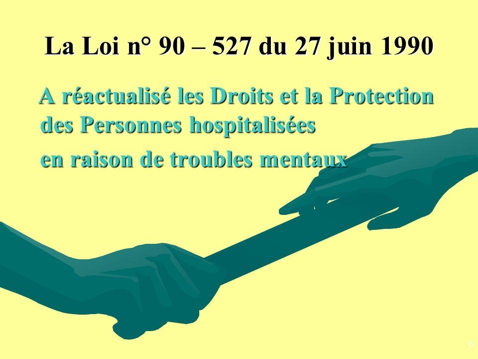 La Loi n° 90 – 527 du 27 juin 1990 en raison de troubles mentaux