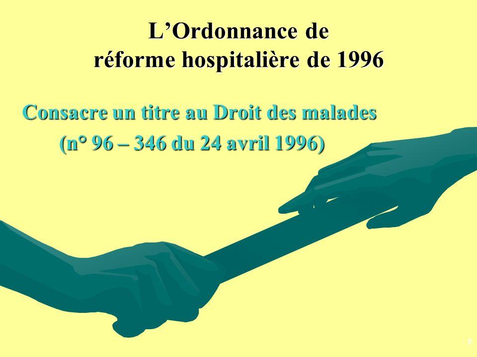 L'Ordonnance de réforme hospitalière de 1996