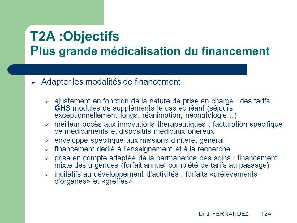T2A :Objectifs Plus grande médicalisation du financement