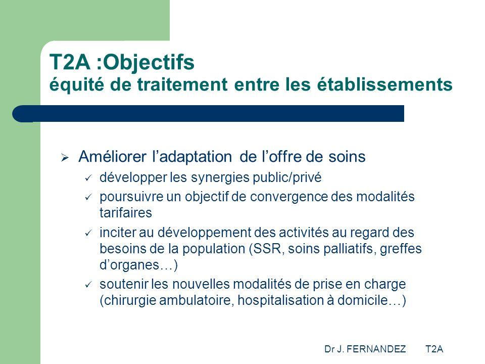 T2A :Objectifs équité de traitement entre les établissements