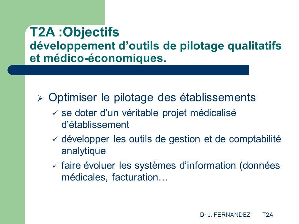 T2A :Objectifs développement d'outils de pilotage qualitatifs et médico-économiques.