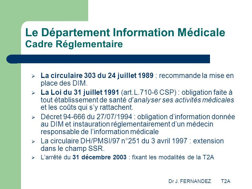 Le Département Information Médicale Cadre Réglementaire