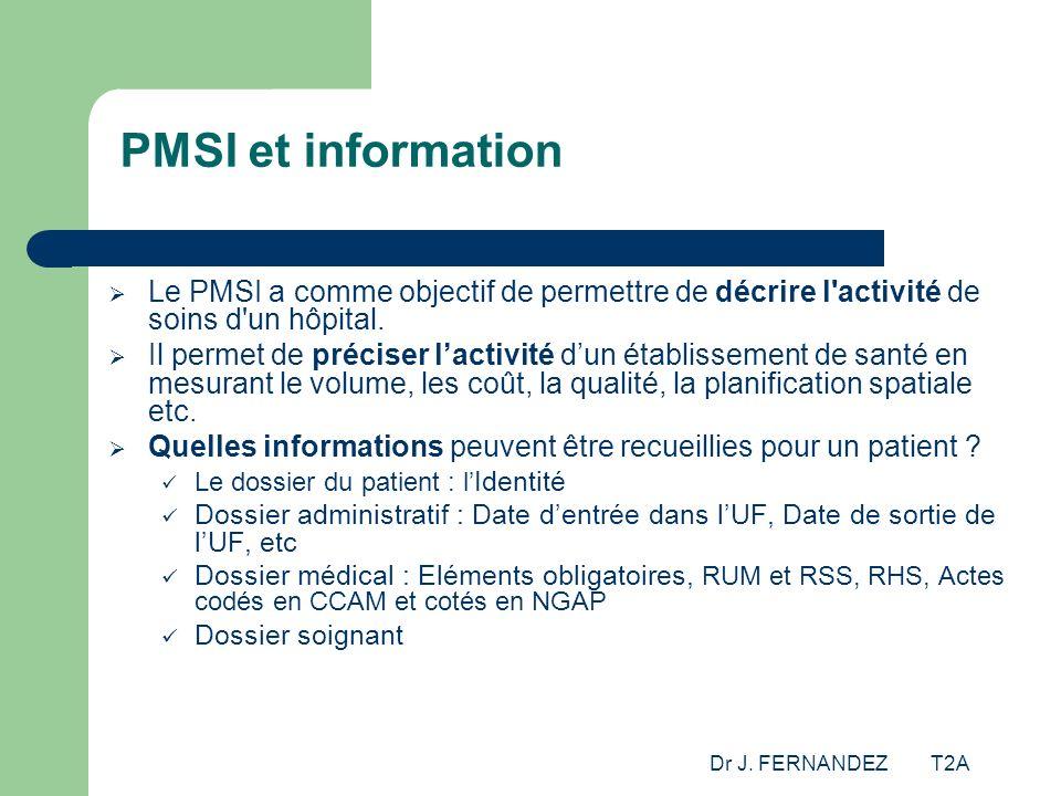 PMSI et information Le PMSI a comme objectif de permettre de décrire l activité de soins d un hôpital.