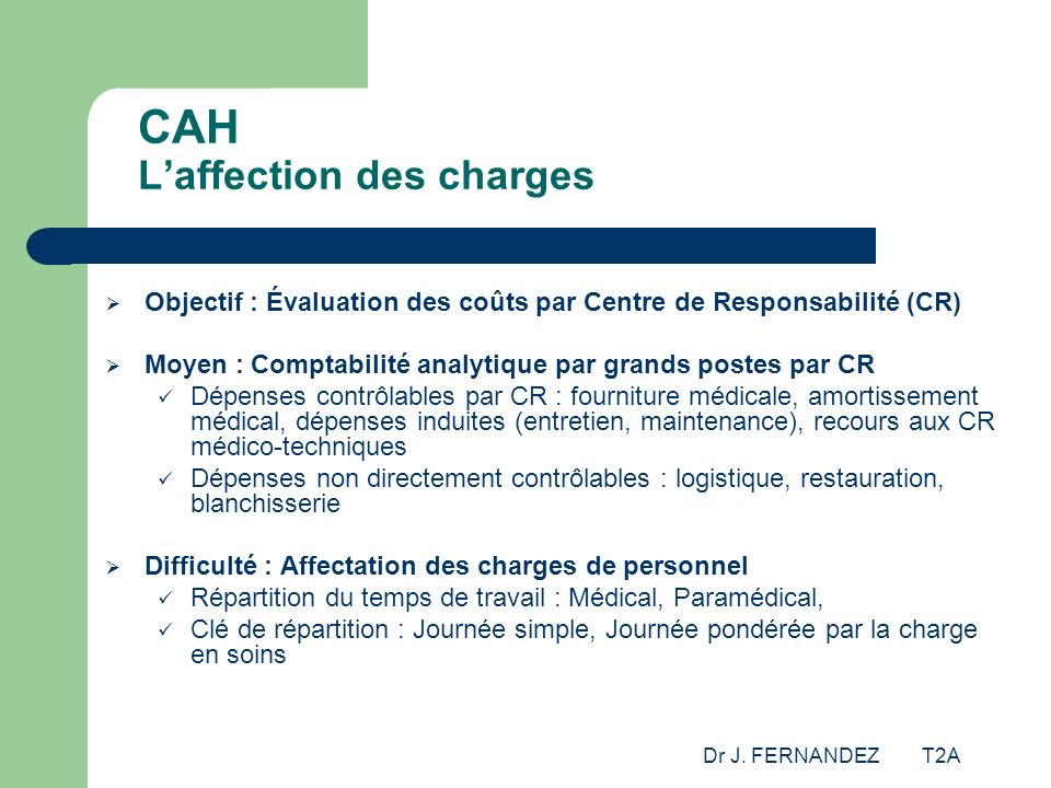 CAH L'affection des charges