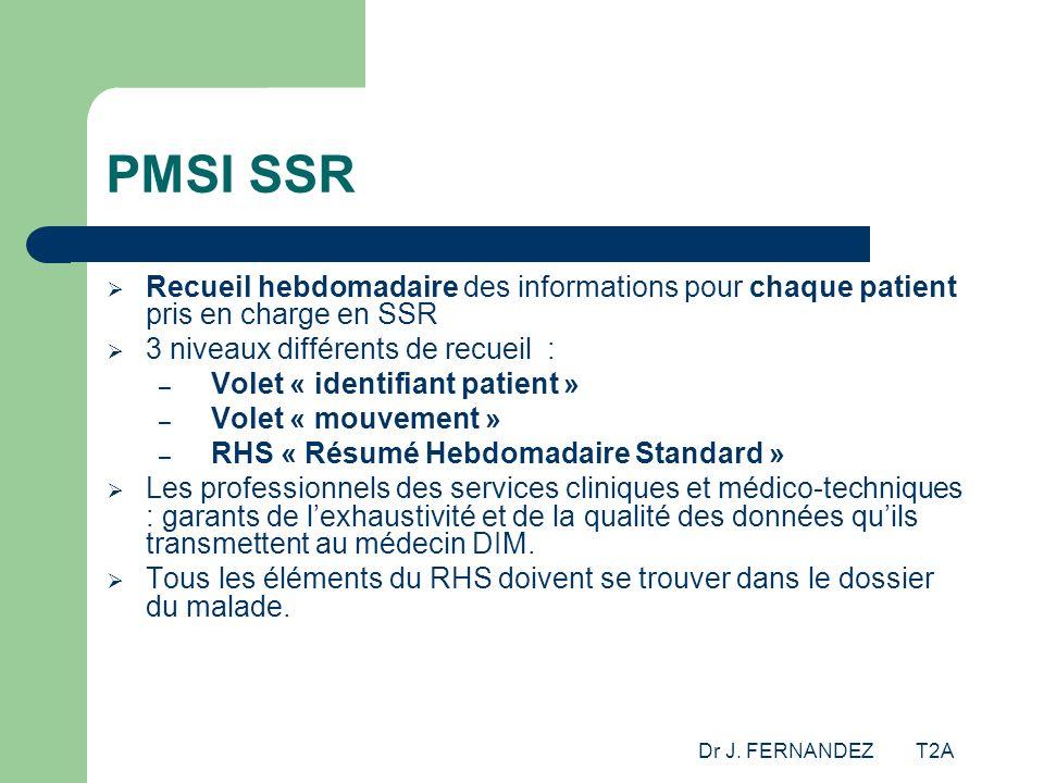 PMSI SSR Recueil hebdomadaire des informations pour chaque patient pris en charge en SSR. 3 niveaux différents de recueil :