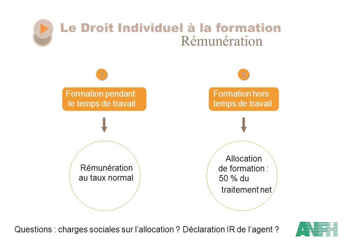 Rémunération Le Droit Individuel à la formation Formation pendant