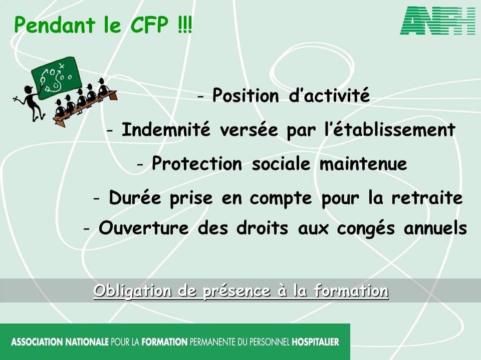 Pendant le CFP !!! Position d'activité