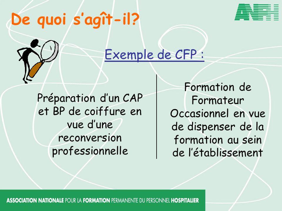De quoi s'agît-il Exemple de CFP :