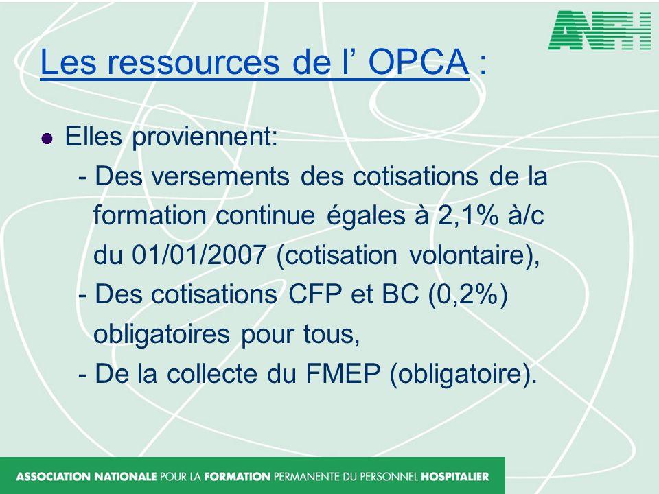Les ressources de l' OPCA :