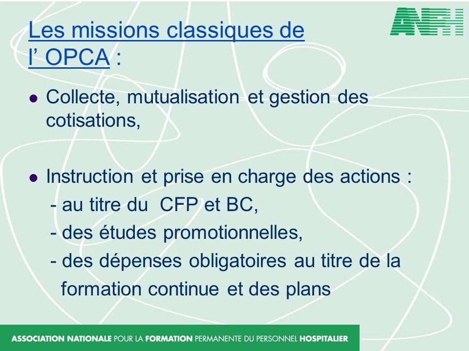 Les missions classiques de l' OPCA :