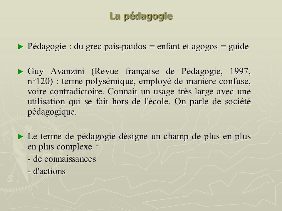 La pédagogie Pédagogie : du grec pais-paidos = enfant et agogos = guide.
