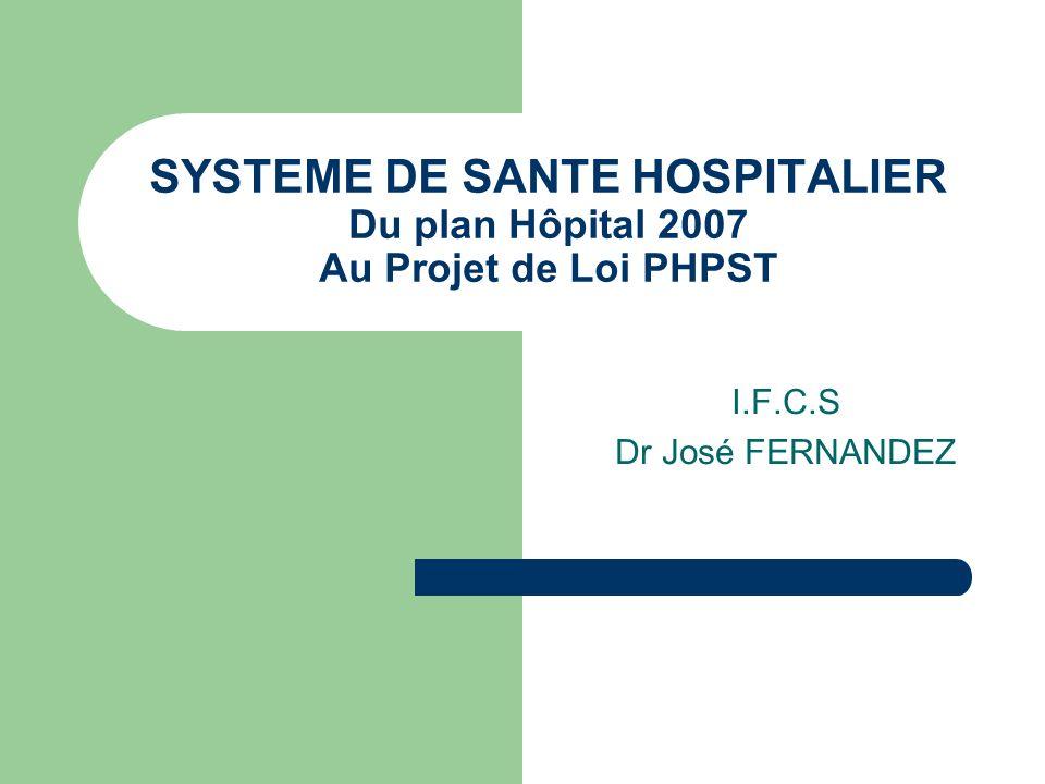 SYSTEME DE SANTE HOSPITALIER Du plan Hôpital 2007 Au Projet de Loi PHPST