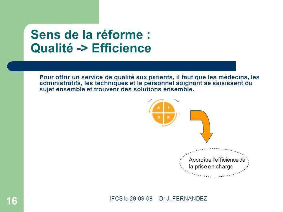 Sens de la réforme : Qualité -> Efficience