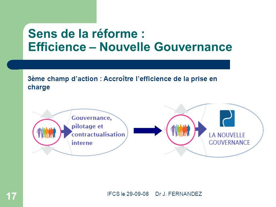 Sens de la réforme : Efficience – Nouvelle Gouvernance