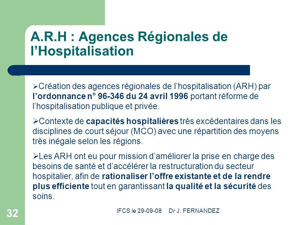 A.R.H : Agences Régionales de l'Hospitalisation