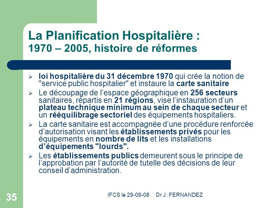 La Planification Hospitalière : 1970 – 2005, histoire de réformes