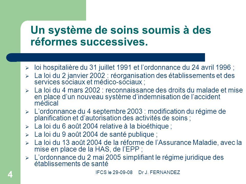 Un système de soins soumis à des réformes successives.