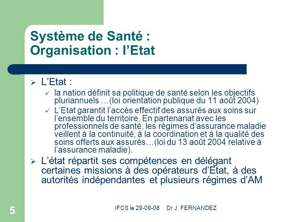Système de Santé : Organisation : l'Etat