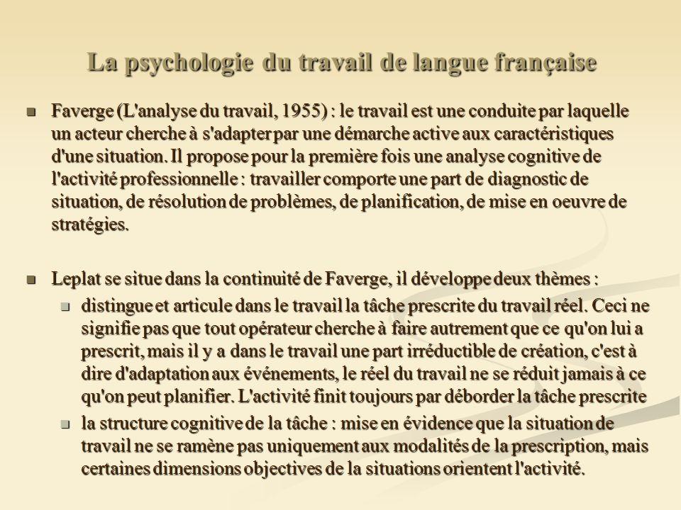 La psychologie du travail de langue française