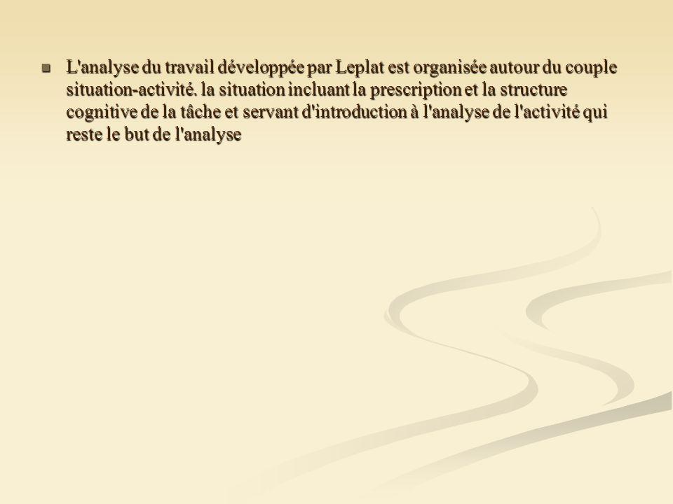 L analyse du travail développée par Leplat est organisée autour du couple situation-activité.