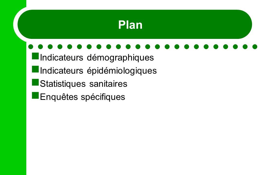Plan Indicateurs démographiques Indicateurs épidémiologiques