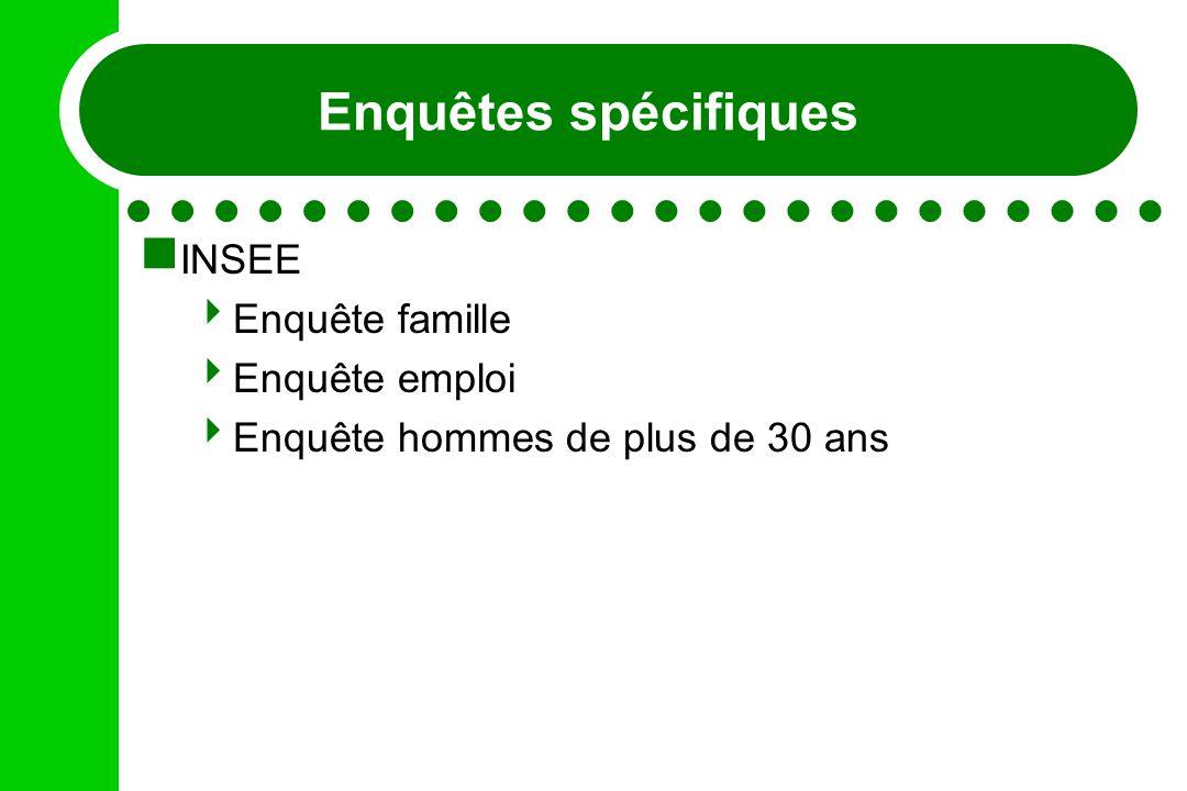 Enquêtes spécifiques INSEE Enquête famille Enquête emploi