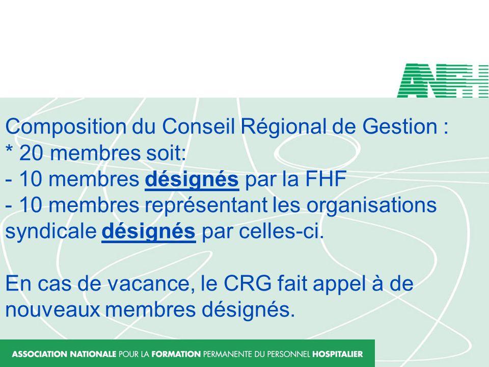 Composition du Conseil Régional de Gestion :