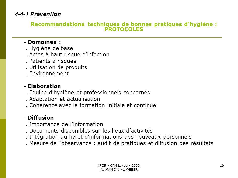 4-4-1 Prévention - Domaines : . Hygiène de base