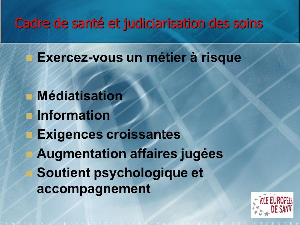 Cadre de santé et judiciarisation des soins