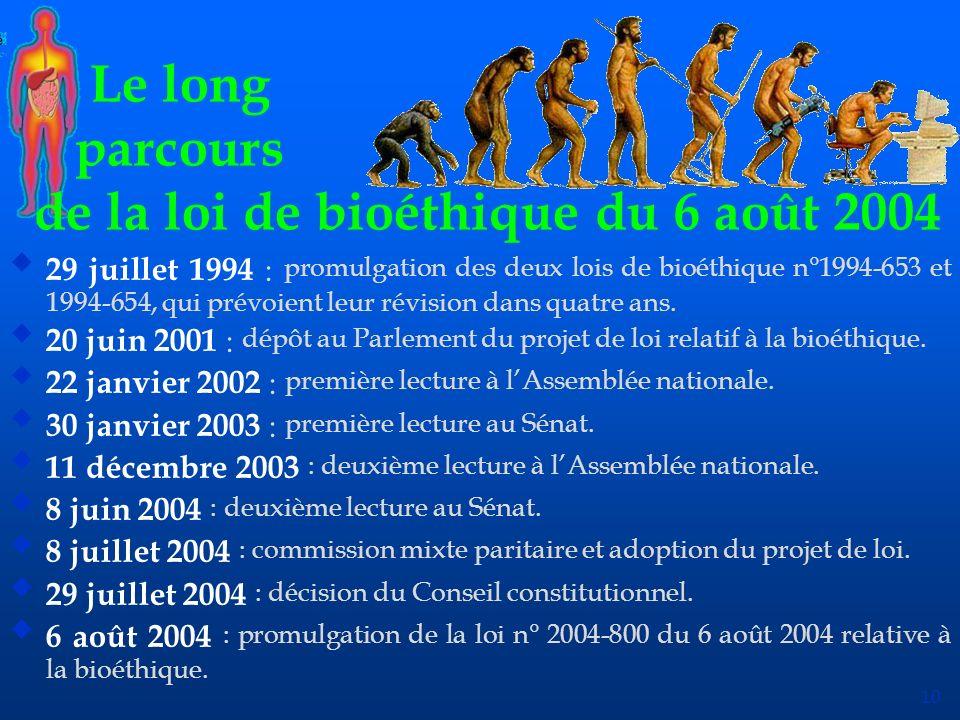 de la loi de bioéthique du 6 août 2004