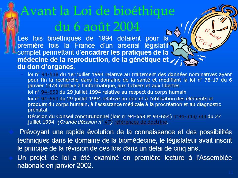 Avant la Loi de bioéthique du 6 août 2004
