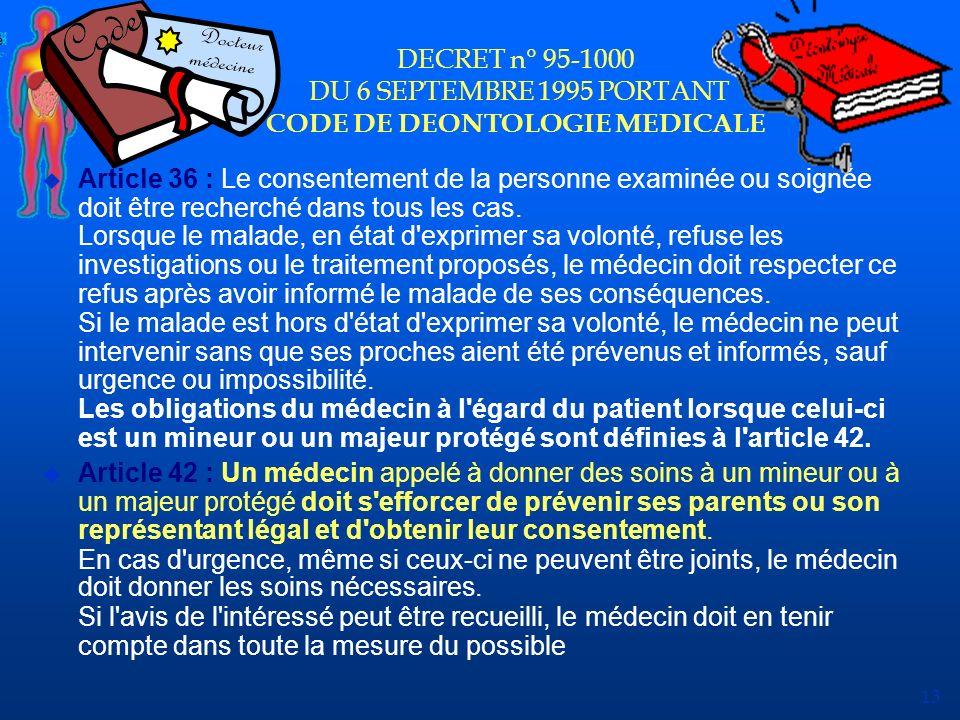 DECRET n° 95-1000 DU 6 SEPTEMBRE 1995 PORTANT CODE DE DEONTOLOGIE MEDICALE
