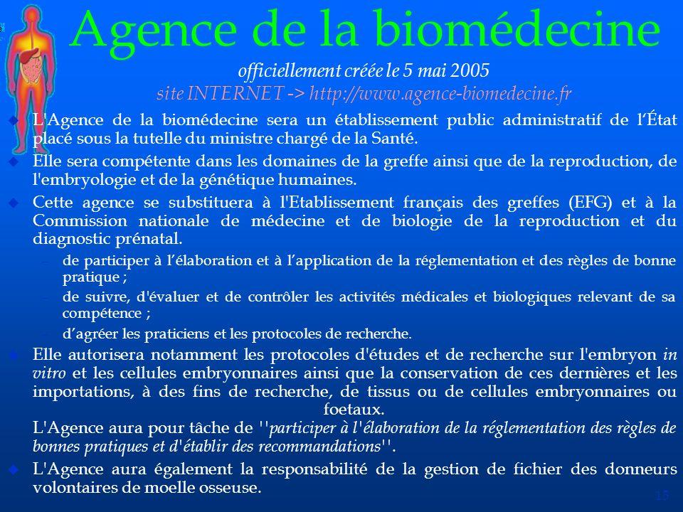 Agence de la biomédecine officiellement créée le 5 mai 2005 site INTERNET -> http://www.agence-biomedecine.fr