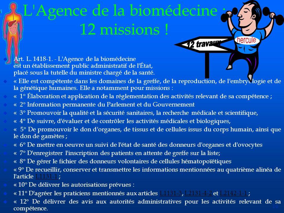 L Agence de la biomédecine : 12 missions !